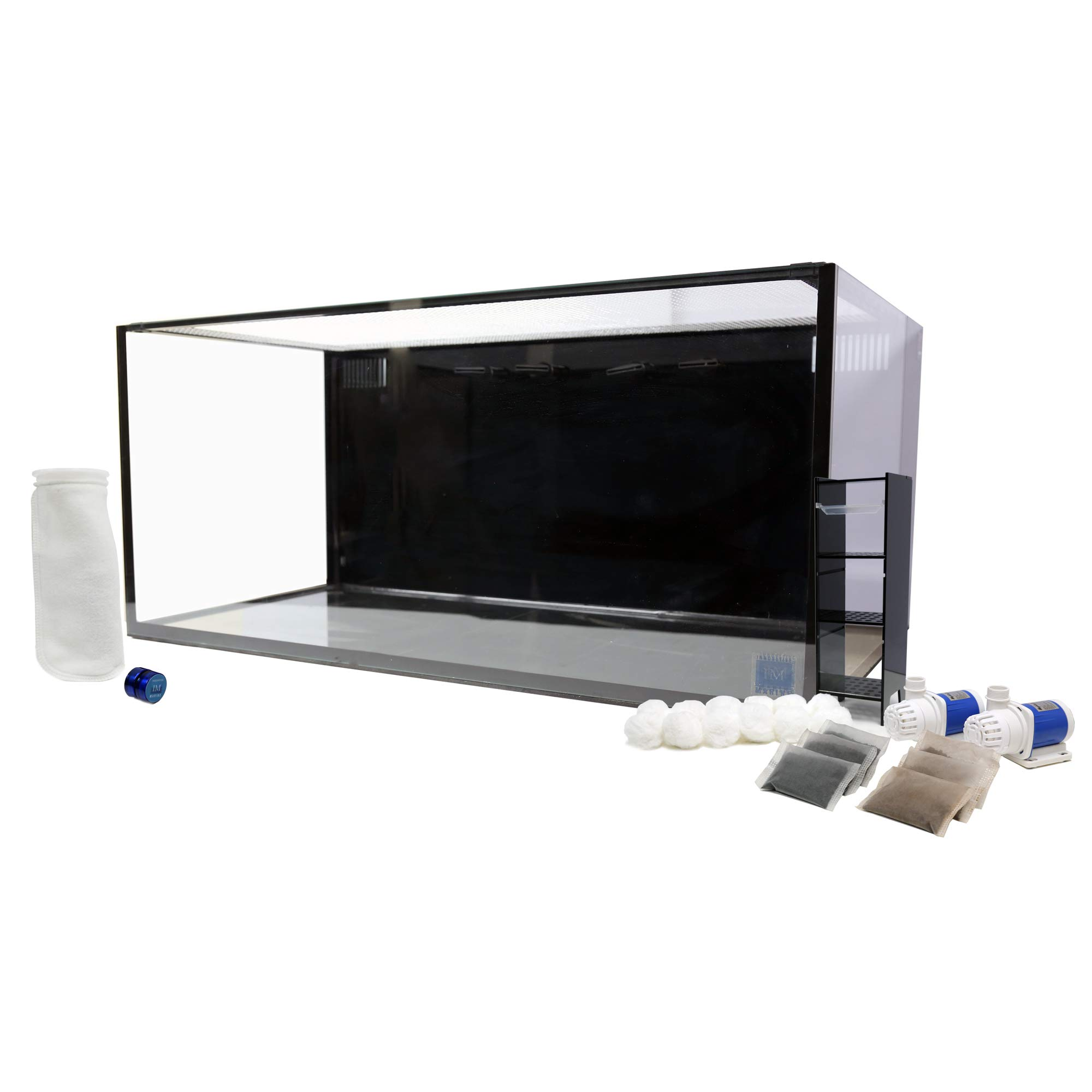Innovative Marine Nuvo SR PRO 60 Gallon AIO (All-in-one) Aquarium with 2 x Mighty Jet DC Return Pump, Custom Caddy (Media Included), Filter Sock, Leveling Mat and Assembled Mesh Screen, MicroMag by Innovative Marine