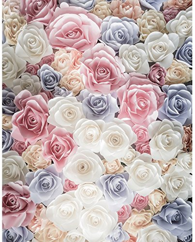 5x7ft white blue and pink 3d rose flowers photo backdrop High-grade portrait cloth Computer printed wedding Photography Backgrounds dd-S-2558