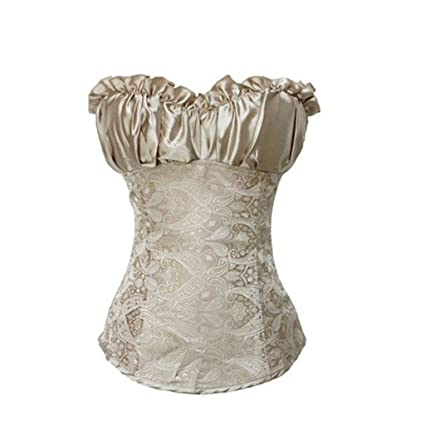 zyxf Floral plisado ajuste Bustier Fancy mujeres corsé vestido Sexy Lace sistemas de lencería Vintage Jacquard