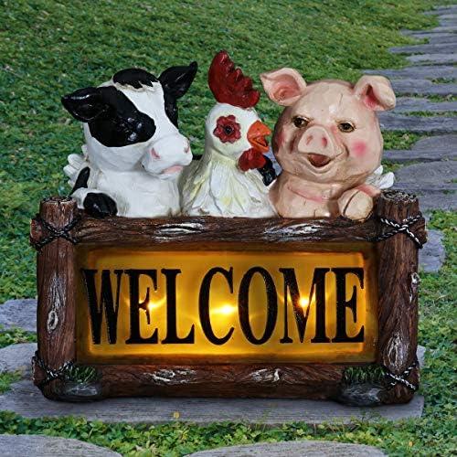 Exhart Solar Farm Animals Welcome Sign Garden Statue