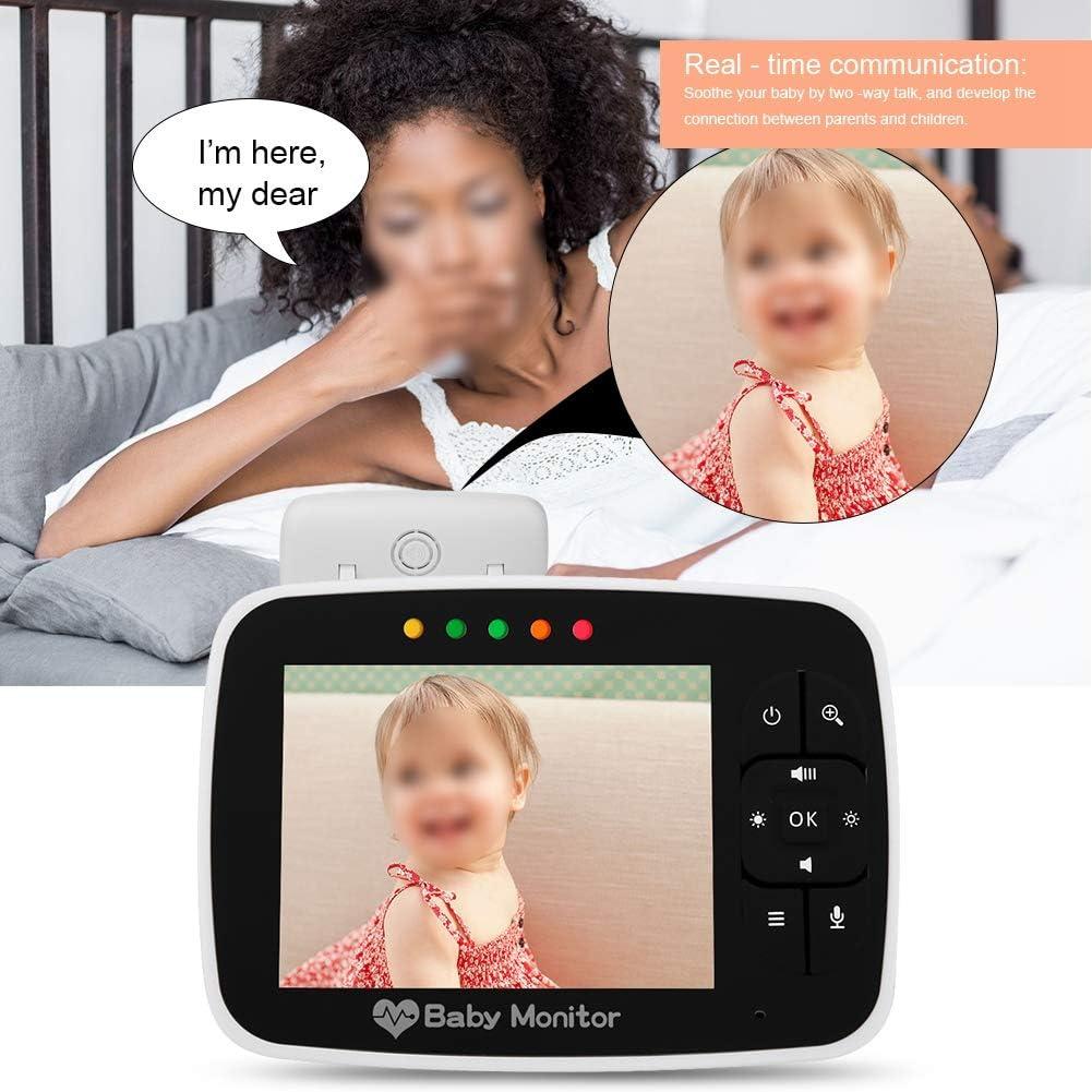Babyphone B/éb/é Moniteur 3.5 LCD Sans Fil 2.4 GHz avec Vision Nocturne Infrarouge Zoom 2 Voies Cam/éra Audio