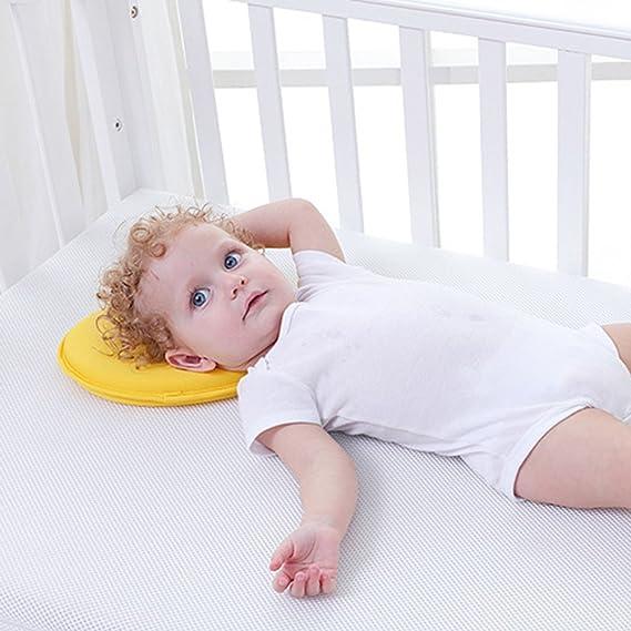 Almohada Bebé Cojin Cuna, para Evita Plagiocefalia de Cabeza Plana, Almohada Ortopédica y Cuna Lactancia para Bebé Recien Nacido 0~18 Meses con Funda ...
