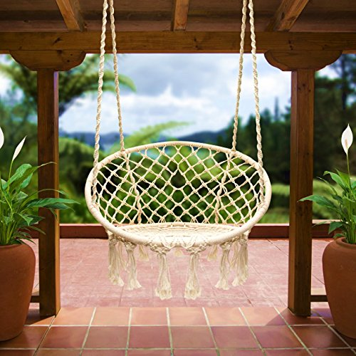 E EVERKING Hammock Chair Macrame Swing, Hanging Cotton