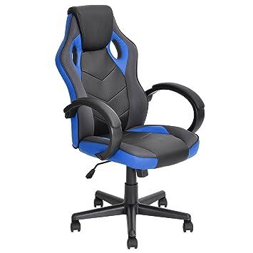 Homycasa Ergonomic Computer Seat Faux Leather Office Racing Desk Chair (BLUE )