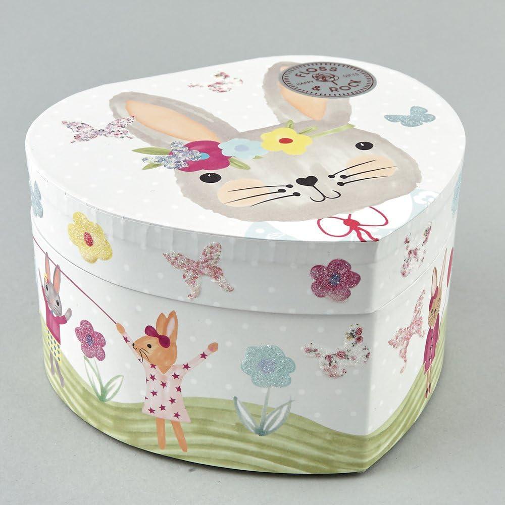Floss /& Rock Bunny Rabbit Kids 2 Drawer Keepsake Storage Wooden Box Gift