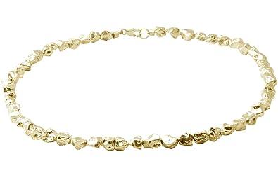 Silber Kette aus Nuggets (Sterlingsilber 925) Halskette aus massiven,  vergoldeten Silbernuggets - hochwertige f4b214f21e