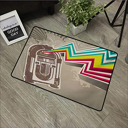 (Door mat W35 x L47 INCH Jukebox,Antique Vintage Retro Radio Party with Colorful Zig Zag Design Image,Pale Grey and White with Non-Slip Backing Door Mat Carpet)