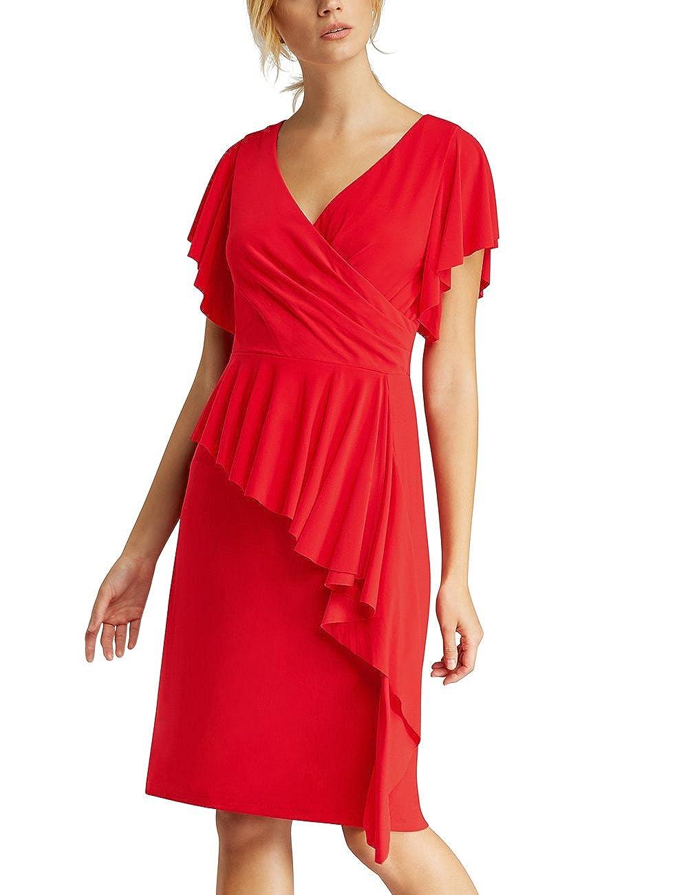 Womens Glamour: Black-Lipstickred-Flowers-Fake Leather Dress Apart Fashion DM3NY
