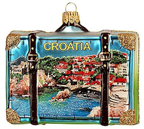 (Croatia Suitcase Plitvice Lakes National Park Adriatic Sea Dubrovnik Polish Glass Christmas Ornament Travel Souvenir Decoration)