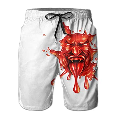 ZAPAGE Men Quick Dry Boardshorts Blood Demon Swimwear Board Shorts With Pockets