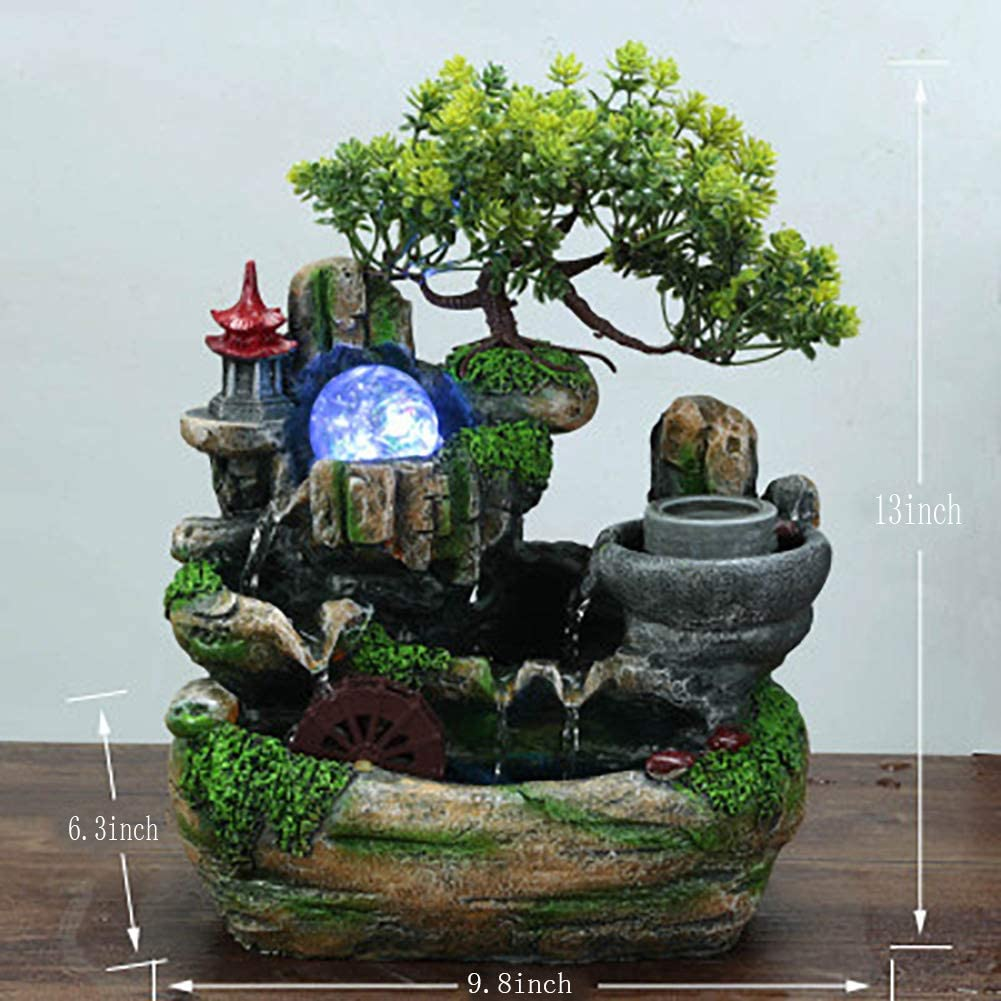 ASDFG Indoor Lucky Water Fountain,natures Rocky Waterfall Desktop Office Decoration And Home Decoration Green 13inch
