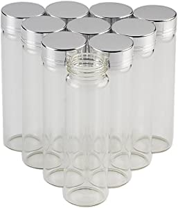50units 30x100mm Empty Jars Glass Bottle with Aluminium Gold or Silver Color Screw Cap 15ml 25ml 40ml 50ml 60ml Sealed Liquid Food Gift Container (50, 50ML-Silver Lid)