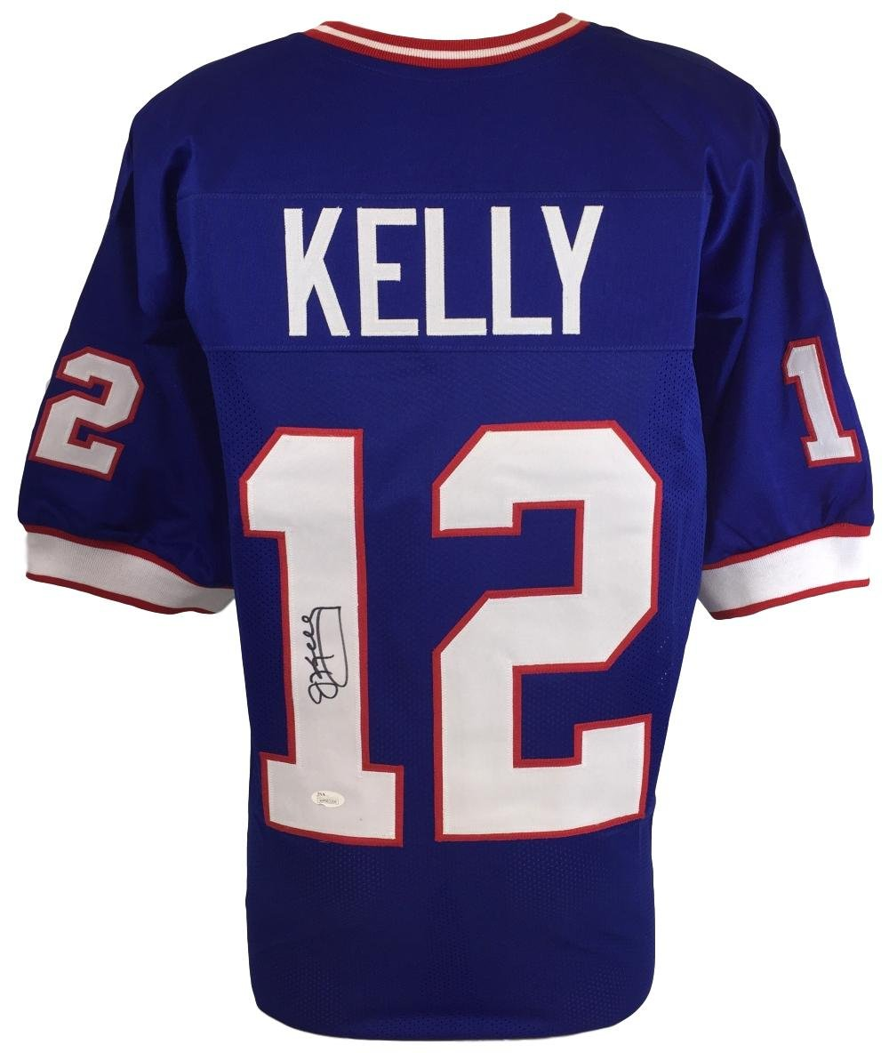 03f23432f Bills QB Jim Kelly Signed Custom Blue Pro-Style Football Jersey JSA -  Authentic Autograph at Amazon s Sports Collectibles Store