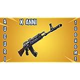 Zeus Party CIALDA in Ostia Personalizzabile per Torta FORTNITE Stagione 7 AK-47 Arma Videogioco con Nome A Scelta