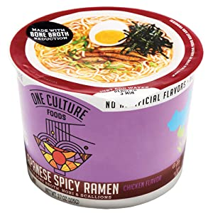 One Culture Foods Bone Broth Instant Cup Noodles, Japanese Spicy Ramen - Natural - Non-GMO (Pack of 8)