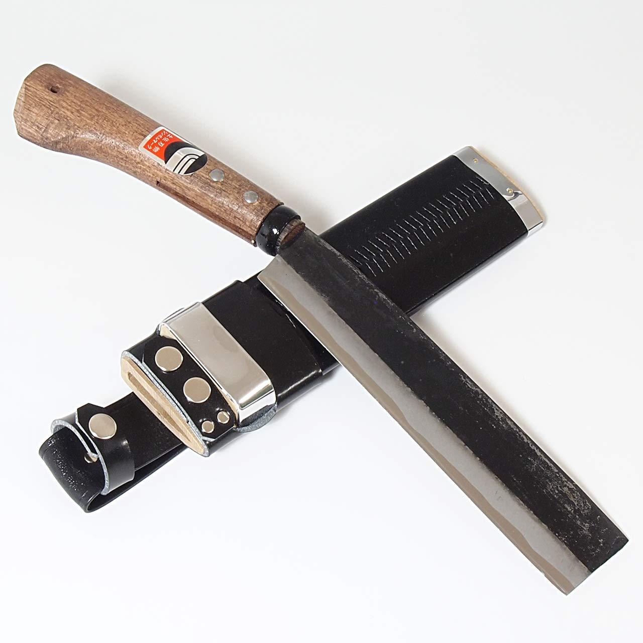 腰鉈 和式ナイフ 黒打ち仕上げ 片刃 白鋼 竹割り 枝打ち こしなた 土佐打刃物 (刃渡り18cm) B07T7J4Y5Y  刃渡り18cm