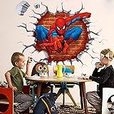 Spiderman 3D Cracked Children Themed Art Wall Sticker, 18X20-Inch