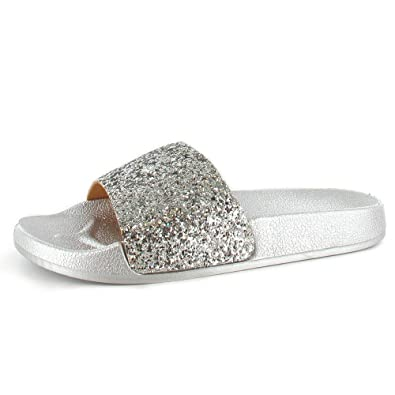 7b15dcf078e8b Ella Jasmine Silver Glitter Sequin Sliders Mules - ell-Jas-Sil   Amazon.co.uk  Shoes   Bags