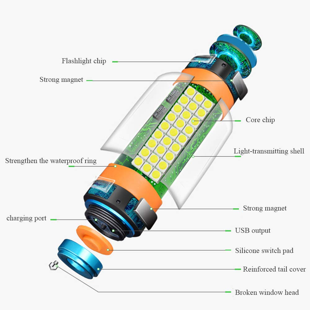YYBT Camping Lantern, USB wiederaufladbare LED-Lagerleuchte, Multifunktionale Multifunktionale Multifunktionale Camping-Laternen, [Camping Accesories] [Camping Gear] Portable Hanging Magnetic Power Waterproof for Hiking (S) B07M6XQZNN Laternen Rich-pünktliche Lieferung 3d9584