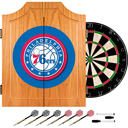NBA Philadelphia 76ers Wood Dart Cabinet Set by Trademark Gameroom