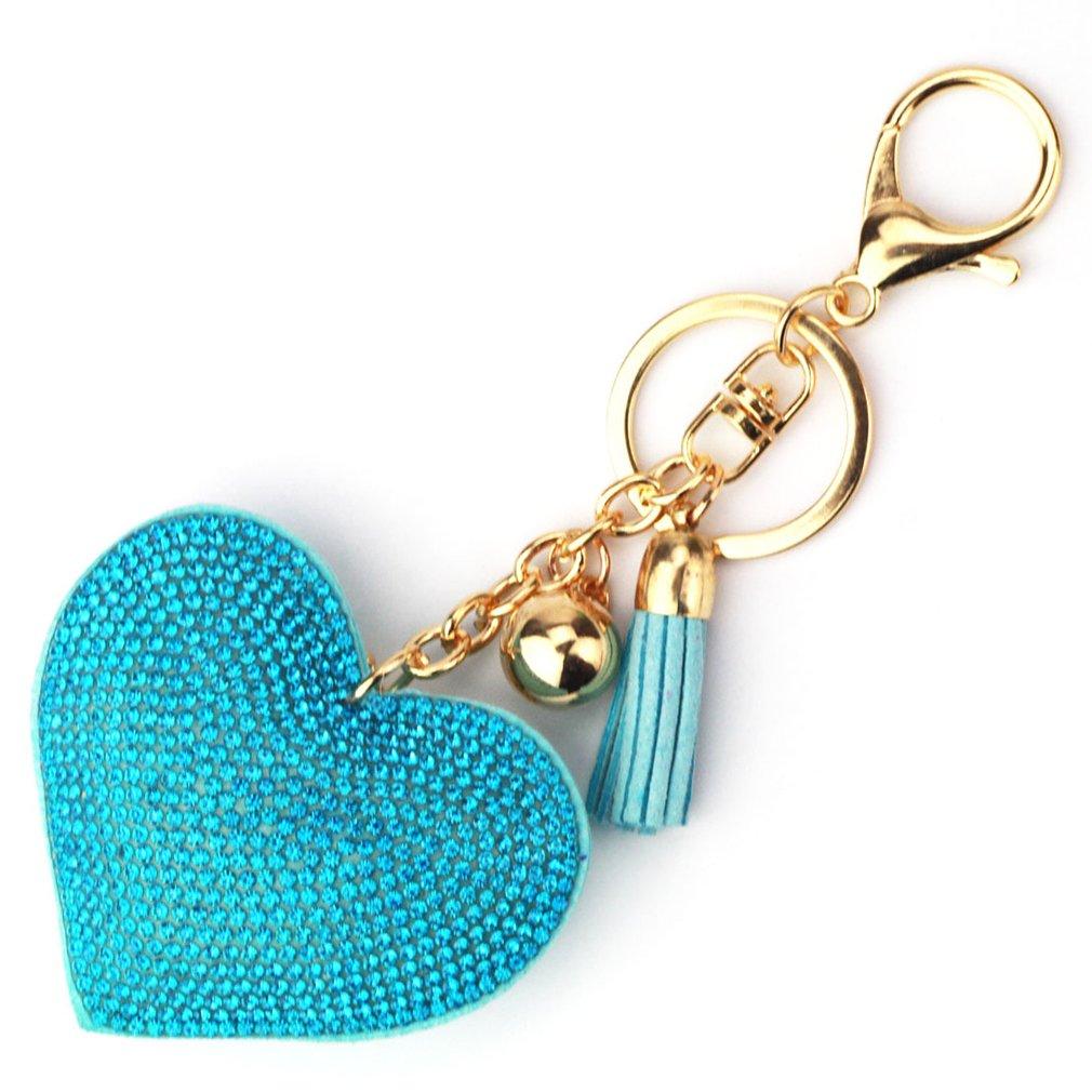 GUAngqi Key Chain, Love Heart Crystal Rhinestone Leather Tassel Keychain Cute for Car Key Ring Handbag Pendant Decor Purse Bag Charm Car Key Chain,Golden Lake Blue
