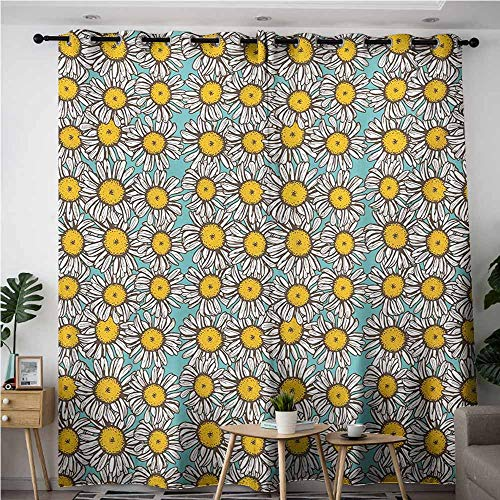 AndyTours Waterproof Window Curtains,Yellow and White,Energy Efficient, Room Darkening,W120x96L,Pale Blue Marigold White