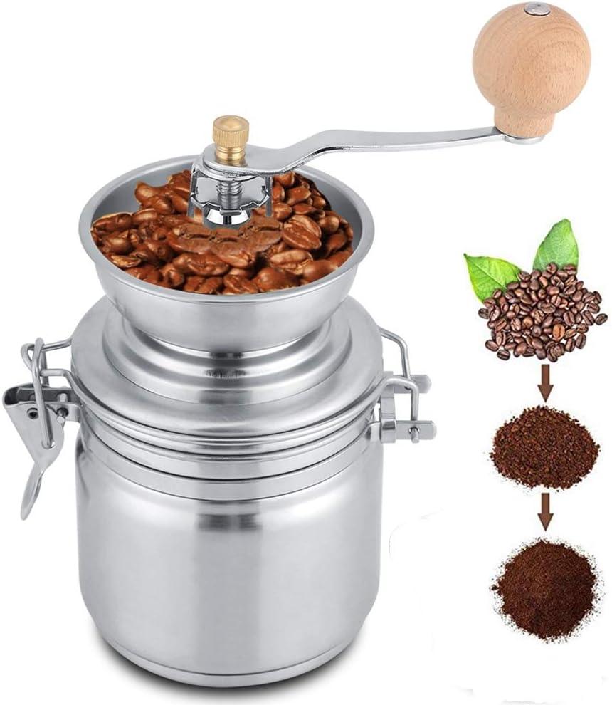 Molinillo de Café Manual de Acero Inoxidable, Molino Herramienta de Mano para Especias,Nueces, Molinillo de Café Manual para Hogar, Cafetería, etc.(Plata)