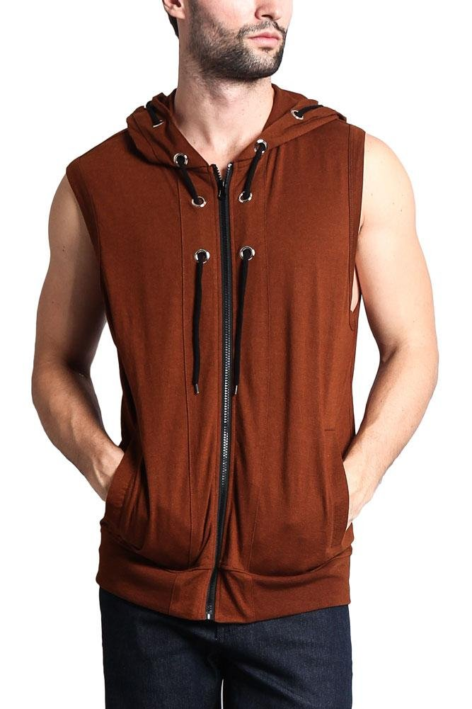 Victorious Eyelet Sleeveless Contrast Hoodie SL888 - Mocha - X-Large - H1A