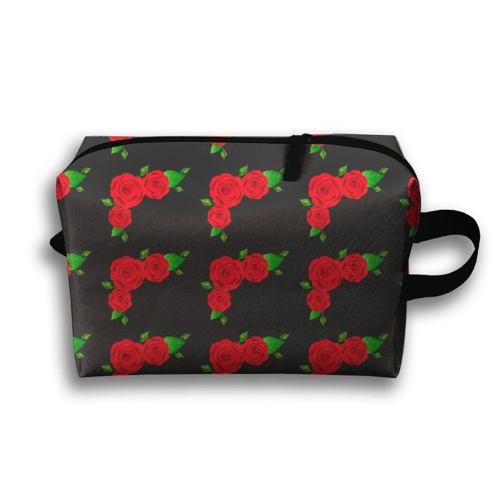 590786ae42cb Red Rose Green Leaves Cosmetic Bag Zipper Makeup Accessories Pouch  Toiletries Bags Pen Pencil Power Lines