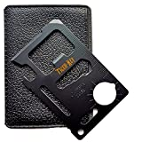 TIGER-KEY Premium 11 in 1 Beer Opener Credit Card Survival Tool-Top Stainless Steel Multipurpose Pocket Tool That Fits Perfectly in Your Wallet (Black)-Ideal For Campers, Hunters, Mechanics, Household