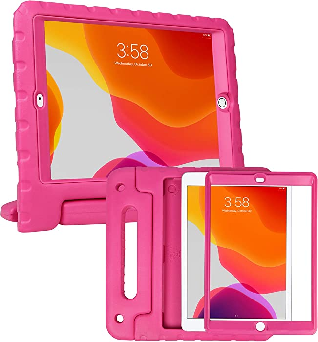 HDE iPad 8th Generation Case for Kids with Built-in Screen Protector – Shock Proof iPad Cover 7th Generation 10.2 - iPad 10.2 Kids Case with Handle Stand for 7th/8th Generation Apple iPad - Hot Pink