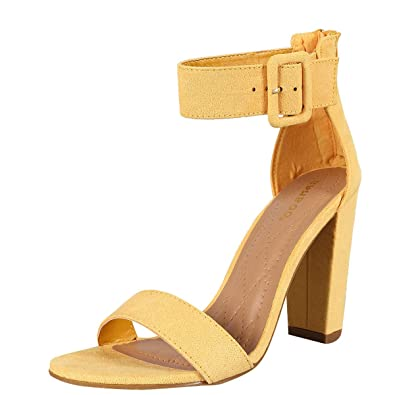 19bc2a8e964a BAMBOO Womens Open Toe Buckle Ankle Strap Single Sole Chunky Heel Classic  Pump Sandals 6 Yellow