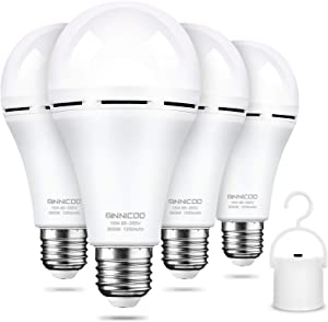Rechargeable Emergency Light Bulb(Pack of 4), Battery Backup for Power Outage, 3000K Warm White 1200mAh with Hook Switch,15W 80W Equivalent LED Light Bulbs, Widely Used in Home , Camp, Hiking