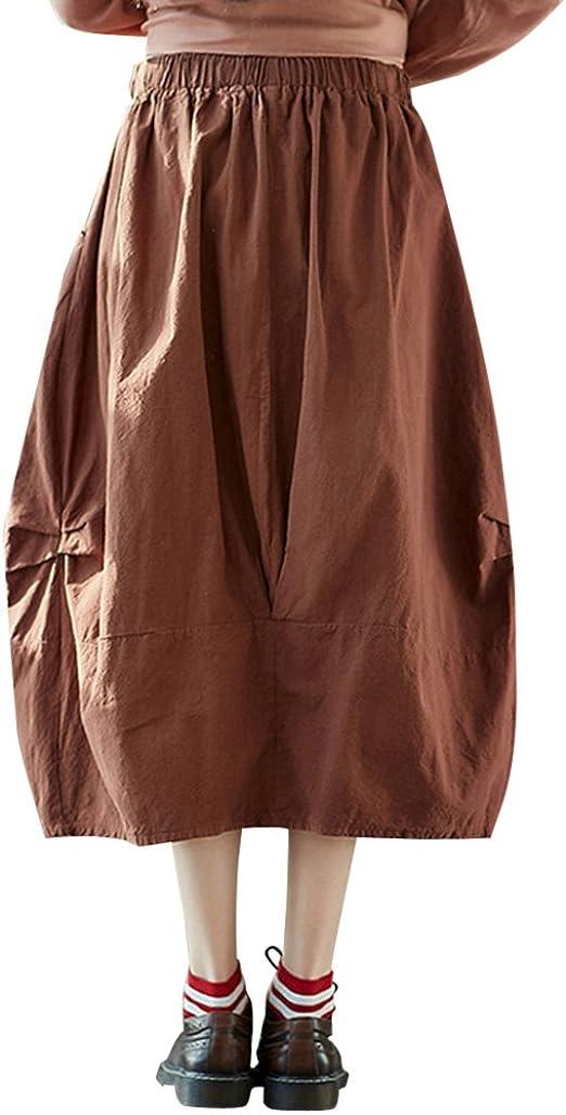 Mujer Verano Midi Faldas Plisada Alta Cintura Falda Café Rojo ...