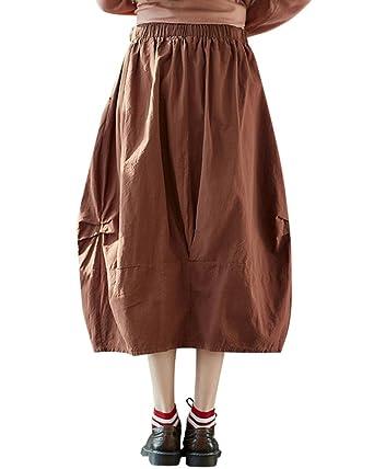 Shaoyao Falda Plisada Larga para Mujer/Falda de Lino para el ...