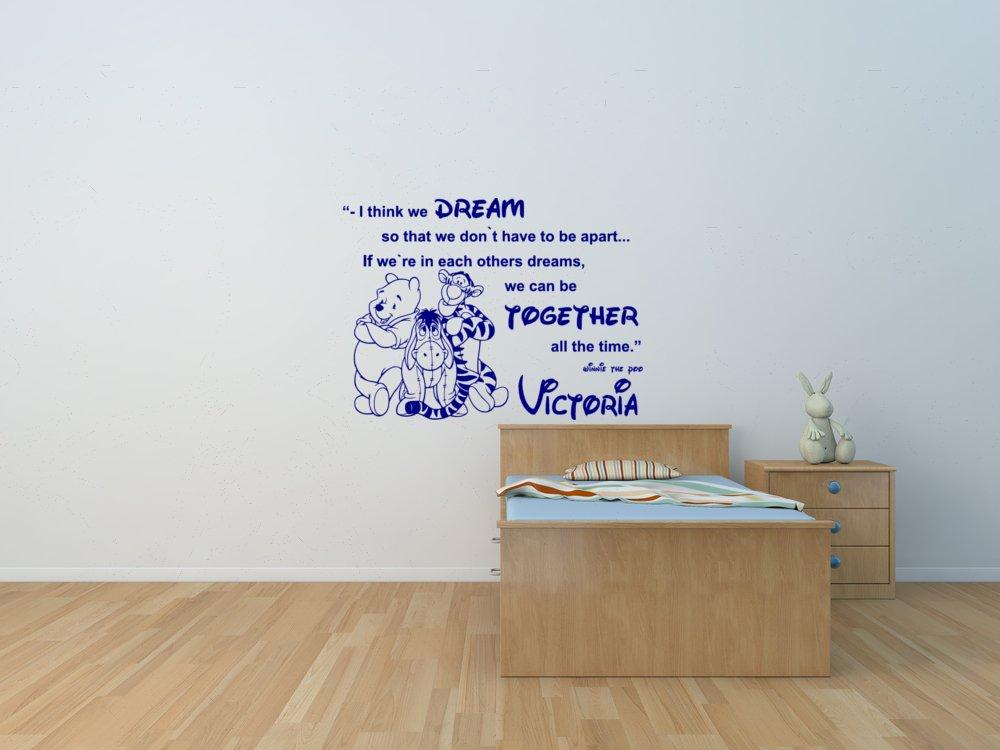 Winnie the Pooh und Freunde Eeyore und Tiger zitieren personalisierte Wandaufkleber f/ür Kinderzimmer Winnie the Pooh Kinderzimmer Wandtattoo.