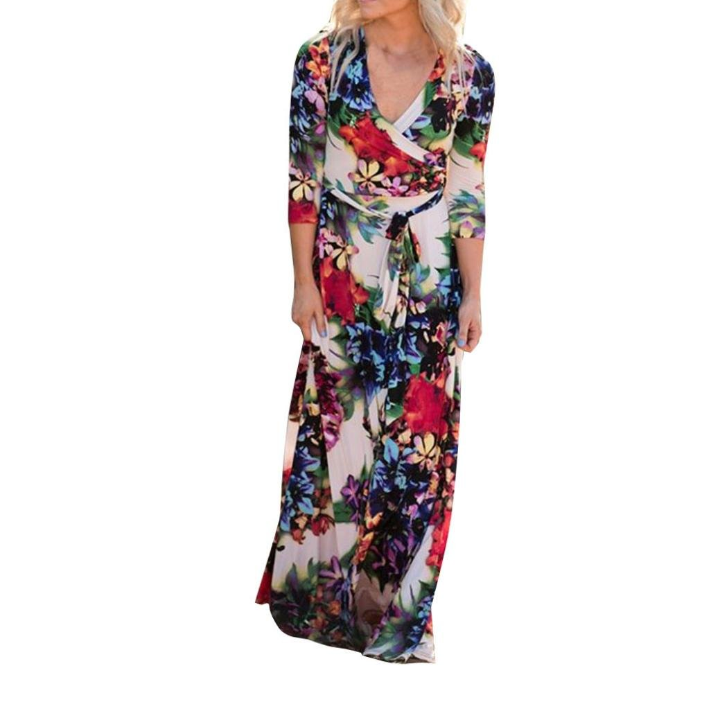 Women Maxi Dress,Boho Floral Beach Skirt Fit and Flare Flowy Party Sundress Axchongery (Colorful, XL)