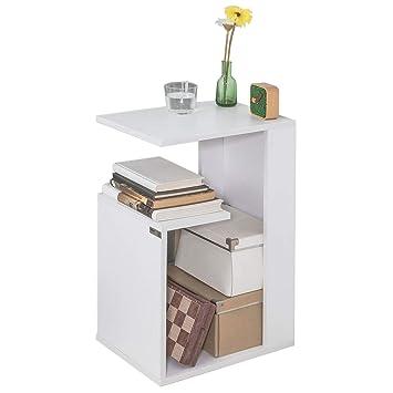 Sobuy Fbt69 W Es Mesa Auxiliar Con 2 Estantes Consola Mesita De Noche Para Salon Comedor