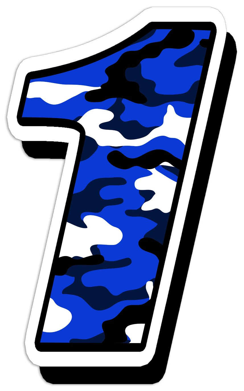 Adesivo Sticker Numero Racing Gara Mimetico Auto Moto Cross Rally Sport Tuning Blu 7 N 217