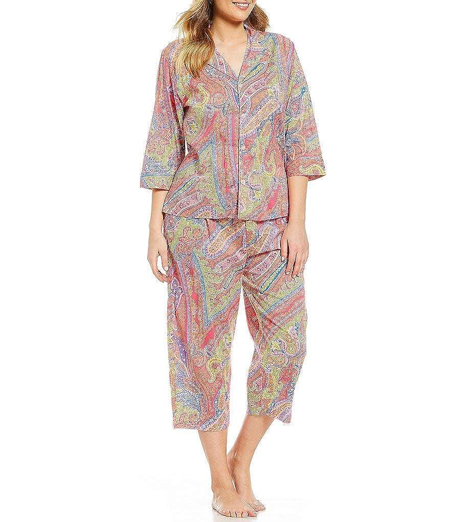 a9f3322d Lauren Ralph Lauren Plus Paisley-Print Woven Capri Pajama Set 55 ...