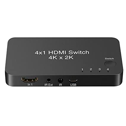 HDMI Switcher 4 Port 1 Out 4x1 HDMI Switch Box V2 0 with IR Wireless Remote  Support 4Kx2K@60Hz 3D 1080P for HDTV PS3 PS4 Blu-ray DVD Home Theater