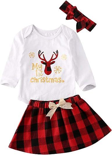 Navidad Bebe Ropa Bebe Niña Navidad 3pcs / Conjunto my First ...