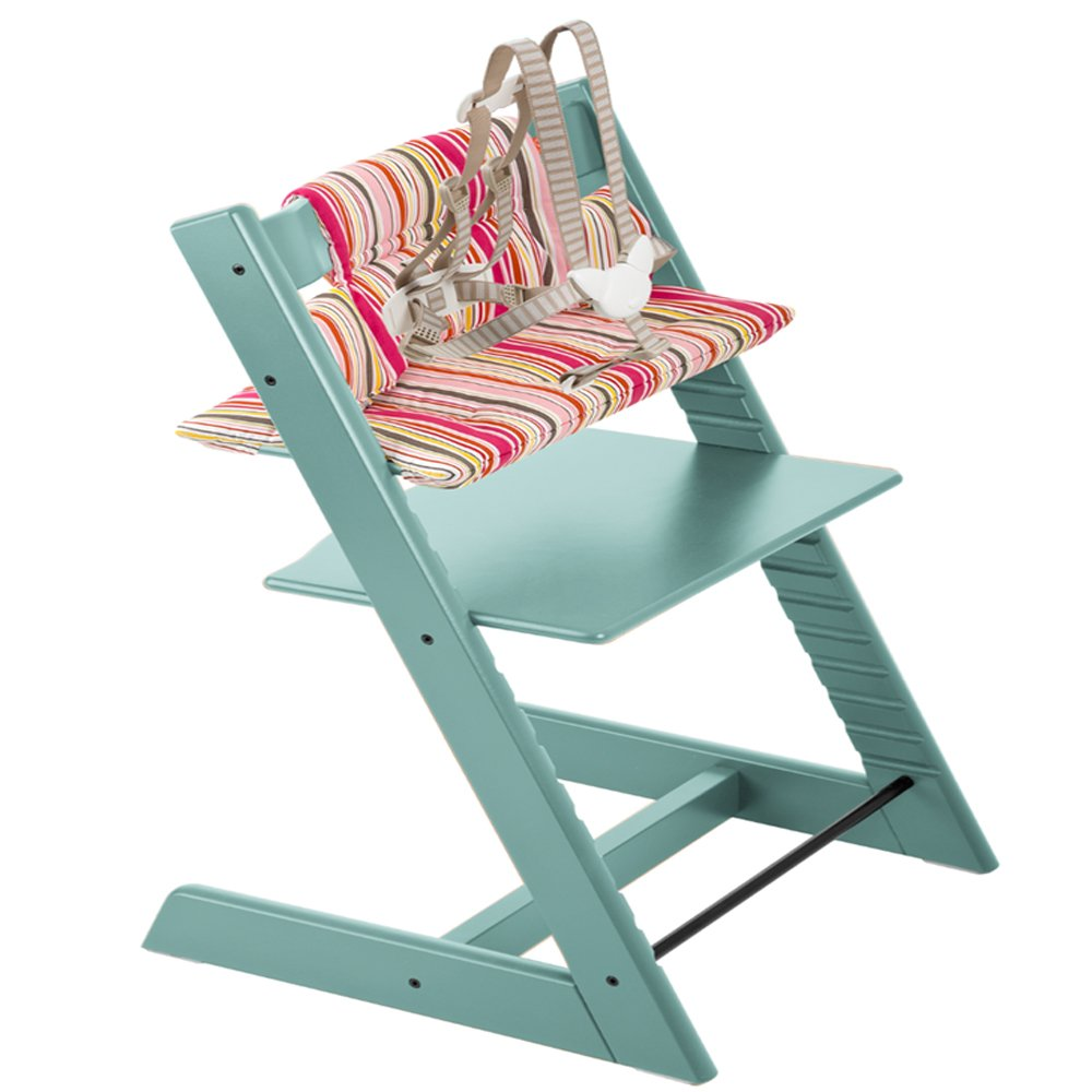 Stokke Tripp Trapp High Chair & Tripp Trapp Cushion Candy Stripe (Aqua)
