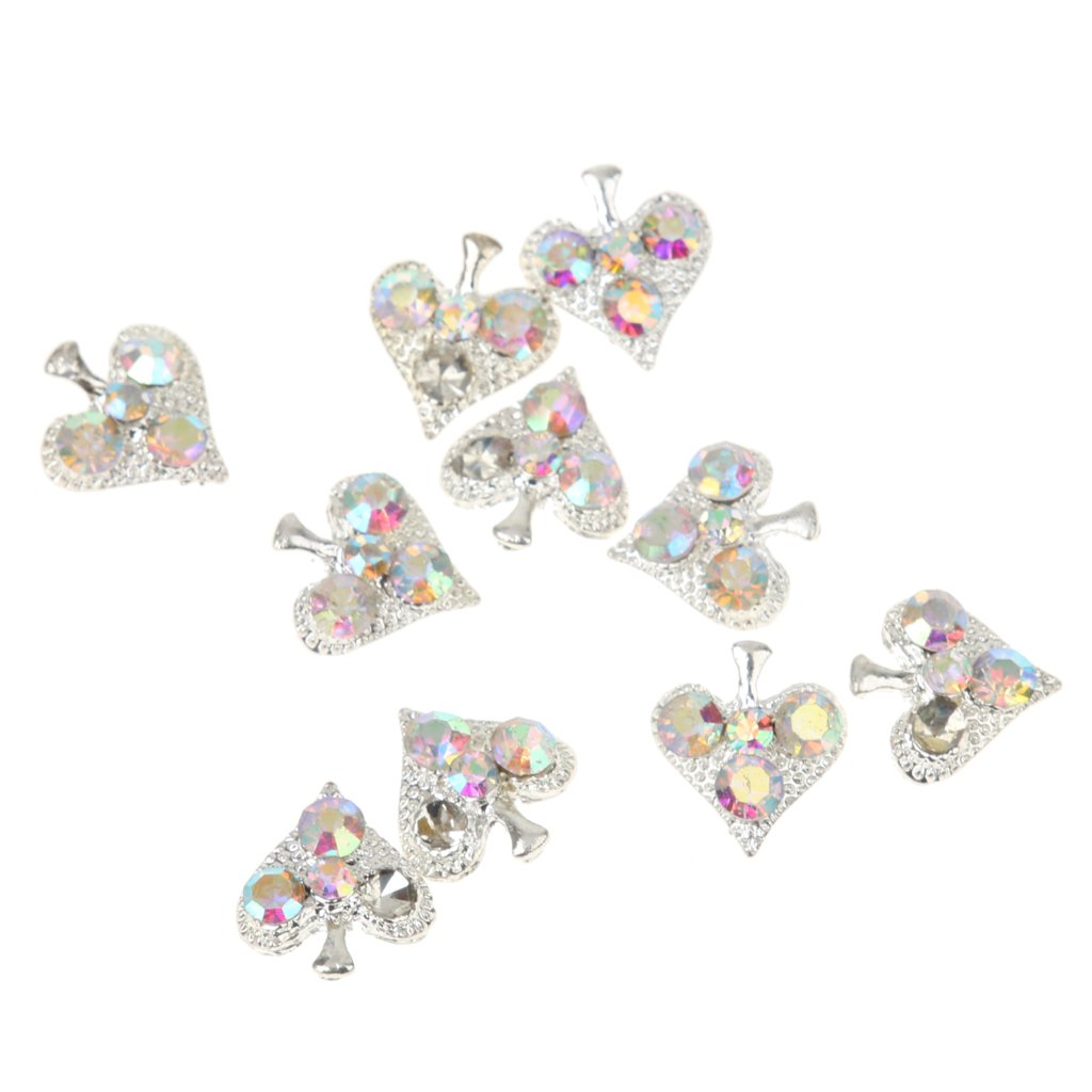 Pack of 10pcs Nail Art Heart Alloy Rhinestones Peal Stricker Charms Gel Acrylic Nail Jewelry Glitter DIY Generic