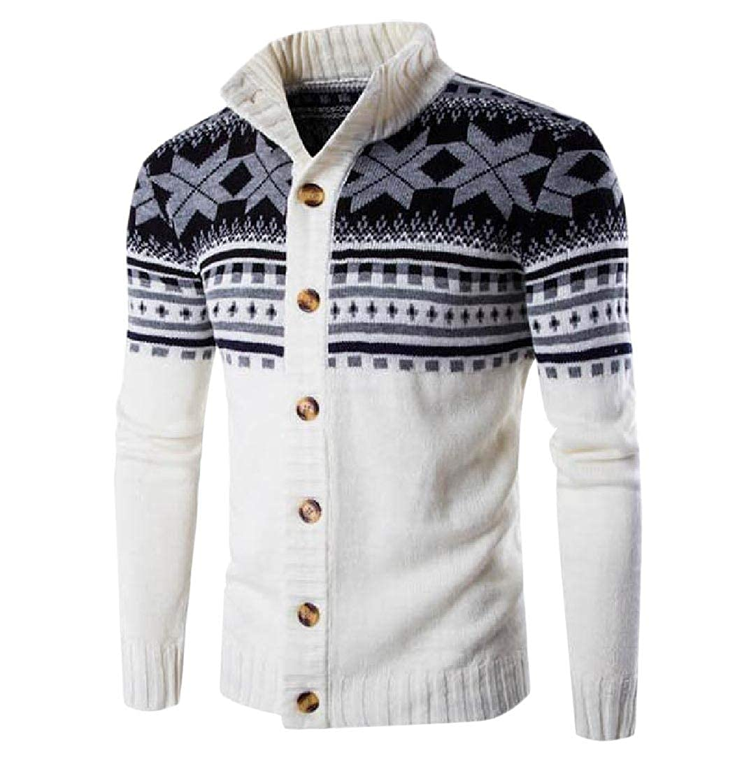 Abetteric Mens Fall Winter Casual Mandarin Collar Button Long-Sleeve Cardigan