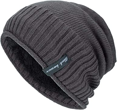Beanies Knitted Hat for Mens Winter Warm Hats Solid Fleece Lined Cotton Knit Slouchy Thick Skull Fashion Cap