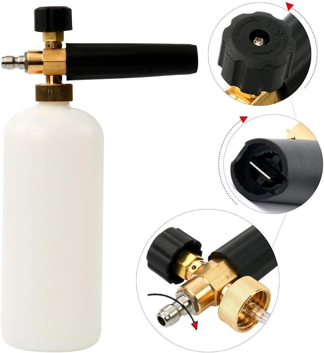 FreeTec Pistola de espuma para Hidrolavadora ajustable Cañón de espuma espuma Lanza con 1/4 Quick Connector 1L Botella