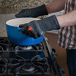 Extreme Heat Resistant Grill Gloves: Premium Insulated & Silicone Lined Aramid Fiber Mitts for Cooking, BBQ, Grilling, Frying & Baking - Professional Indoor Outdoor Kitchen & Oven Accessories