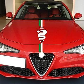 Auto Motorhaube Racing Stripes Grafik Aufkleber Abziehbilder Dekoration Für Alfa Romeo Mito 147 156 159 166 Giulietta Giulia Stelvio Spider Gt C4 8c Emblem B Auto