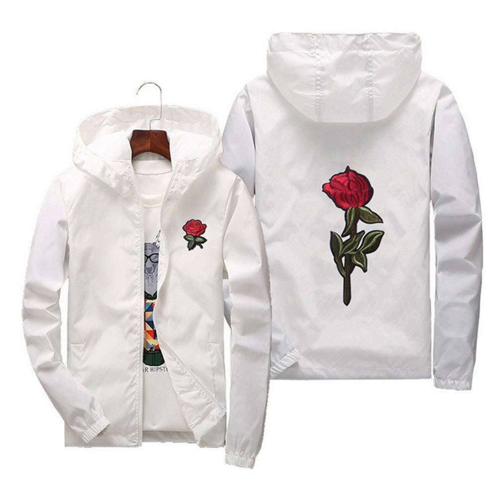 Sunisery Men's Women Casual Hooded Jacket Windbreaker Embroidery Rose Spring Fall Streetwear College Style (S, White) by Sunisery